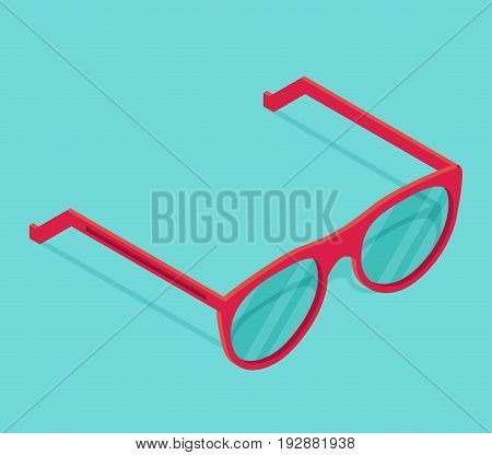 Isolated isometric pink glasses icon islated on color background