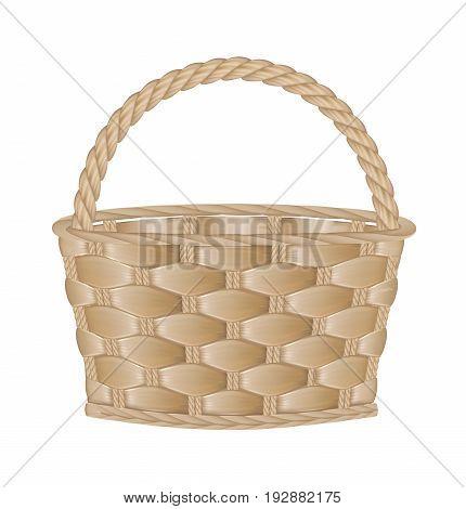 Empty basket on white background. Vector illustration