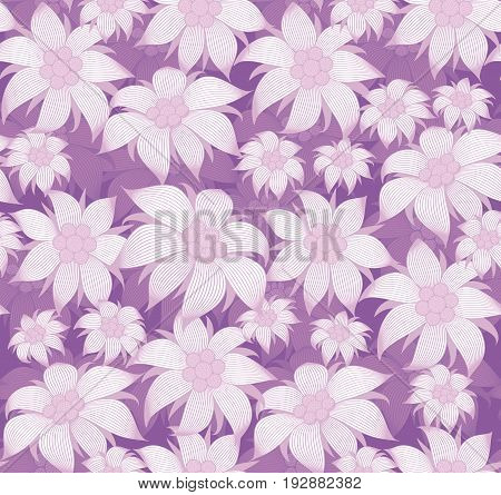 Seamless floral pattern. On purple background purple flowers of edelweiss, water lily, lotus. For postcard, invitations, textiles, clothes, wrapping paper, paperhanging, interior design of room.