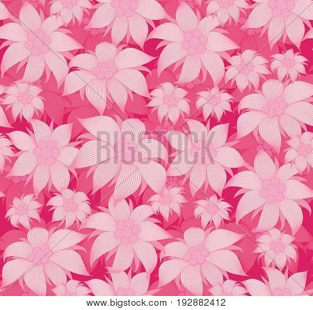 Seamless floral pattern. On a pink background, the flowers are edelweiss, water lily, lotus. For postcard, invitations, textiles, clothes, wrapping paper, paperhanging, interior design of the room.