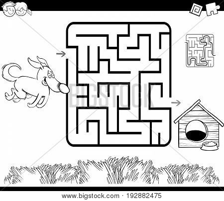 Black and White Cartoon Illustration of Education Maze or Labyrinth Game for Children with Dog and Doghouse Coloring Page