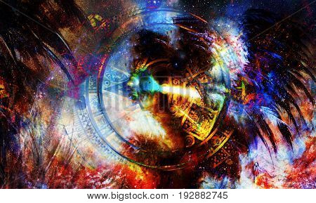 Ancient Mayan Calendar and feathers in Cosmic space. computer collage