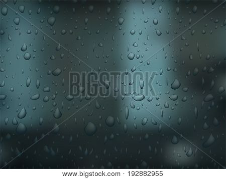 Realistic vector water droplets on dark background. Bubbles on window glass