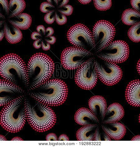 Seamless pattern with red tiare flower. Dots, doted pattern. Monoi flower. Black background