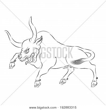 Enraged Bull Outline Vector Silhouette Illustration. Sketch Hand Drawn Vector Angry Bull. Anger Animal. Enraged Bull Leaps.