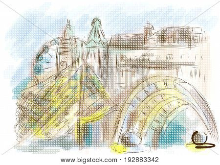 sheffield. abstract illustration of city on multicolor background