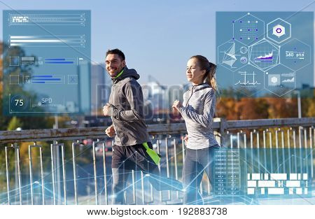 fitness, sport and people concept - happy couple running outdoors