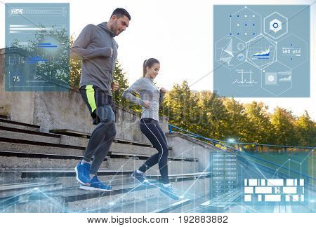 fitness, sport and people concept - couple running downstairs on stadium
