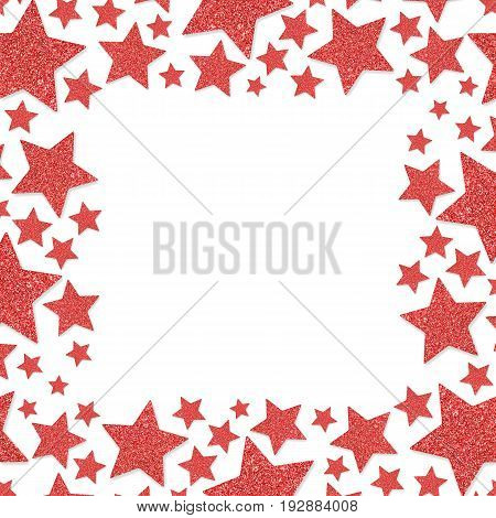 Frame of shiny red metal stars isolated on white background.