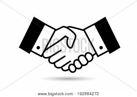 Black bargain handshake icon isolated on white. Business harmony or deal, partnership or respect hand shaking vector symbol
