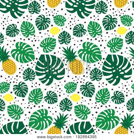 Tropical trendy seamless pattern with pineapples, lemons and green palm leaves on white background. Exotic Hawaii art background. Fashion design for fabric, wallpaper, textile and decor.