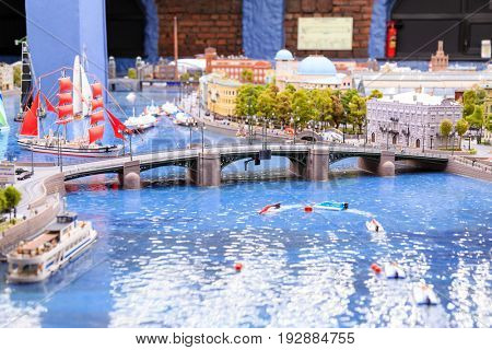 Saint Petersburg, Russia - May 13, 2017: Fragment Big Grand Maket Russia. Grand Maket Russia the world's largest model of Russia from Kaliningrad to the Far East.