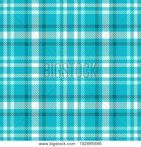 Turquoise blue and white color tartan seamless vector pattern. Checkered plaid texture. Geometrical simple square background for fabric textile cloth clothing shirts shorts dress blanket