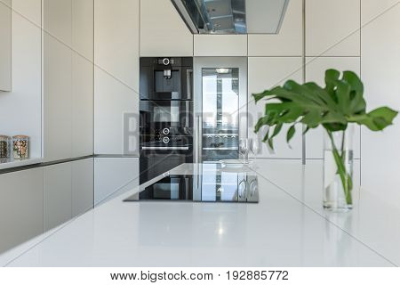 Modern kitchen with light walls. There is a white tabletop with a stove, plates, glasses, vase with green leaves. Behind it there are lockers with an oven and a fridge, over it there is kitchen hood.