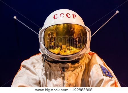 Saint Petersburg, Russia - May 13, 2017: Russian astronaut spacesuit in Saint Petersburg space museum