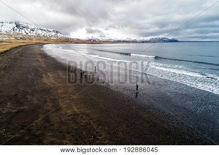 Aerial View Of  The Black Sandy Beach Of Brimilsvellir Of Iceland.