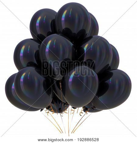 Black balloons happy birthday party decoration dark glossy. Holiday anniversary celebrate new year's eve xmas christmas 3D illustration isolated