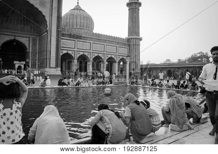 Jama Masjid, Old Delhi, India - 24 June 2017 : The Largest Muslim Mosque In India. Indian People Dev