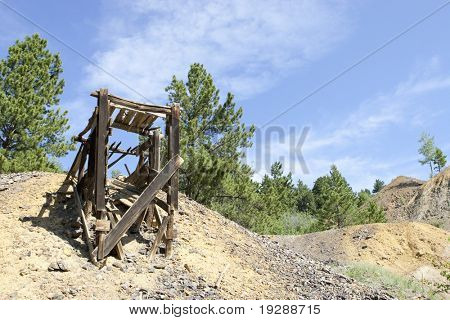 Goldmine platform with tailings down hill