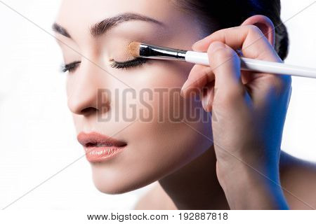 Makeup Artist Using Brush To Apply Eye Shadow On Face Of Woman