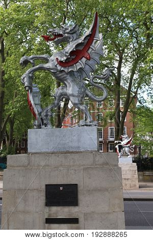 LONDON, GREAT BRIRAIN - MAY 9, 2014: These are griffins on the border of the City of London set on the Victoria Embankment.