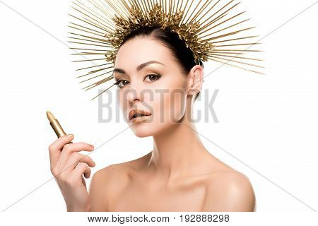 Glamorous Naked Model In Golden Headpiece Holding Lipstick Isolated On White
