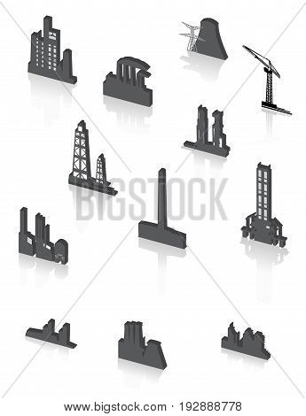 Industrial black factory icons set. Vector illustration.