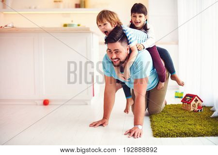 Happy Mad Ride On Father's Back. When You Home Alone With Kids
