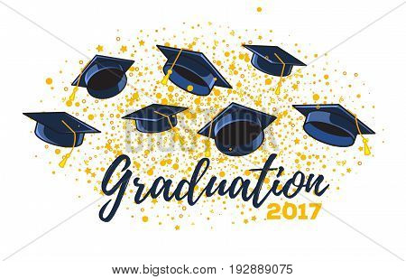 Vector Illustration Of Graduate Caps And Confetti On A White Background. Caps Thrown Up. Congratulat