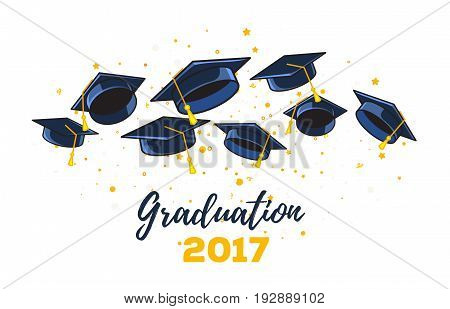 Vector Illustration Of Black Graduate Caps And Yellow Confetti On A White Background. Congratulation