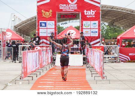 Nakhon nayokThailand - 25 June 2017: Back of finisher run up to finish line in Challenge Nakhon Nayok 2017
