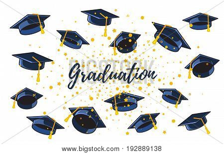 Vector Illustration Of Many Graduate Caps And Confetti On A White Background With Text. Congratulati