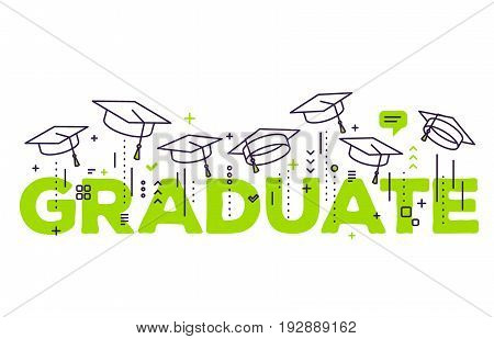 Vector Illustration Of Green Word Graduation With Graduate Caps On A White Background. Congratulatio