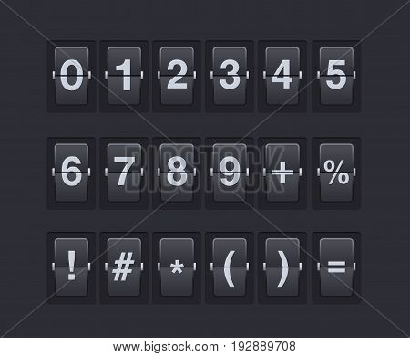 Set of numbers and symbols on a mechanical scoreboard. template