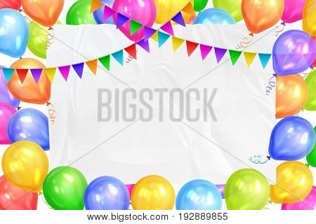 Border of realistic colorful helium balloons flags garlands and white sheet. Party decoration frame for birthday anniversary celebration. Vector illustration