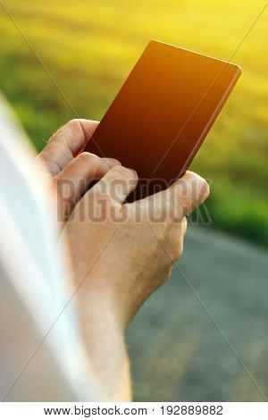 Mobile phone and internet addiction female hands using smartphone