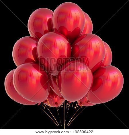 Red balloons birthday party carnival decoration glossy scarlet. Happy holiday. 3D illustration isolated on black