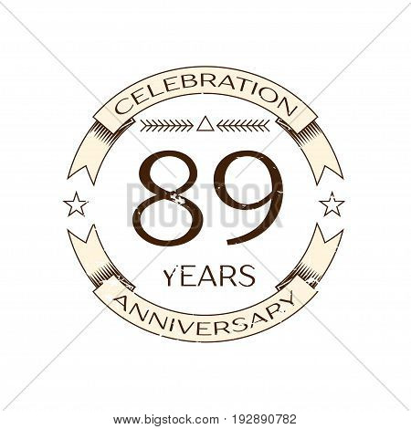 Realistic eighty nine years anniversary celebration logo with ring and ribbon on white background. Vector template for your design
