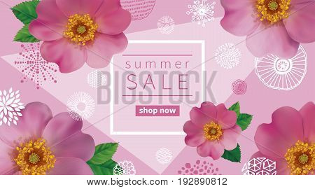 Summer sale background with flowers of pink dogroses.  Abstract hand drawn circles texture.