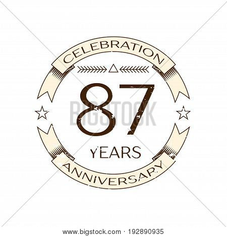 Realistic eighty seven years anniversary celebration logo with ring and ribbon on white background. Vector template for your design
