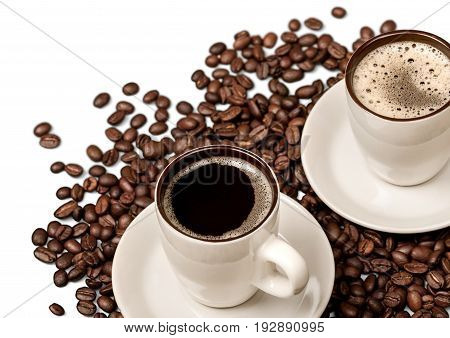 Coffee beans cups background closeup market morning
