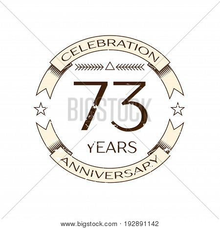 Realistic seventy three years anniversary celebration logo with ring and ribbon on white background. Vector template for your design
