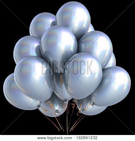 White balloons birthday party carnival decoration bright silver glossy. 3D illustration isolated on black