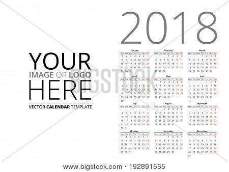 Calendar for 2018, week starts Monday. Vector A4, A3 sizes template on white background