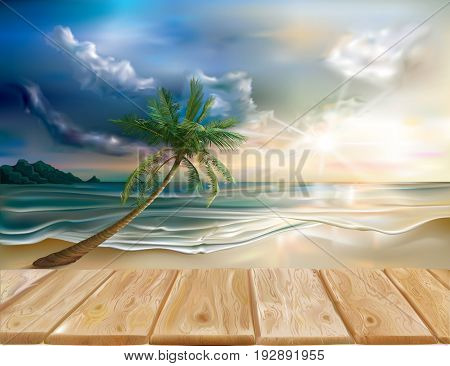 Wooden boards on the background of evening sea landscape. Vector illustration