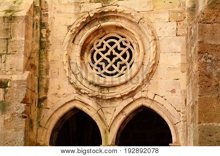 Cloister Of Lisbon Cathedral With Tracery.