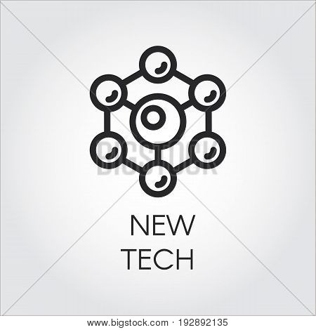 Scientific spherical particles icon in linear style on a gray background. Connection molecular structure. Logo of new tech concept. Vector illustration