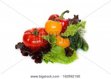 Fresh vegetables tomatoes cucembers pepper lettuce leaves isolated on a white background
