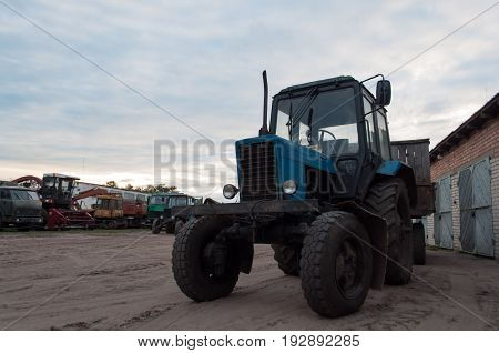 Old Tractor On A Background Of Sky, Yard Machine,