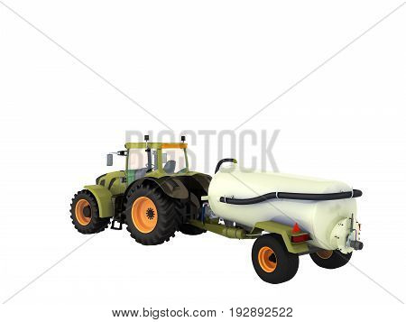 Tractor With A Tank 3D Rendering On A White Background No Shadow